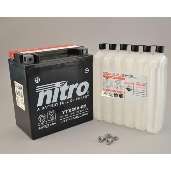 NITRO YTX20A-BS AGM mit Säurepack - 12V - 18Ah - 270A/EN