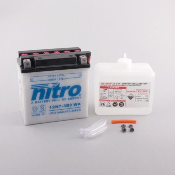 NITRO 12N7-3B-2 mit Säurepack - 12V - 7Ah - 74A/EN