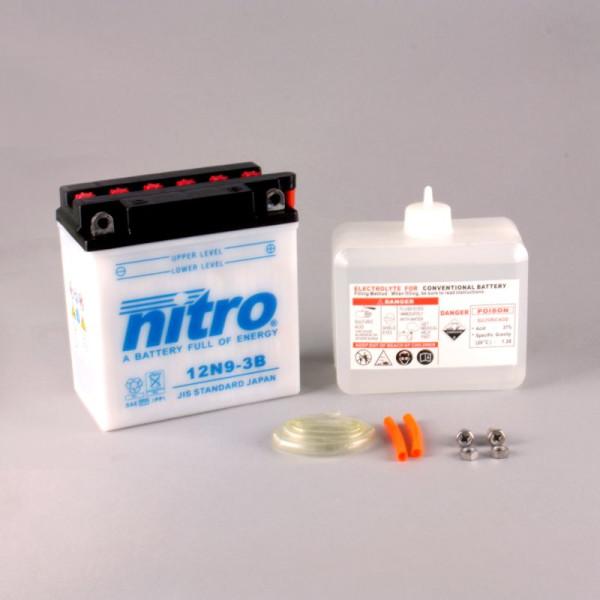 NITRO 12N9-3B mit Säurepack - 12V - 9Ah - 85A/EN